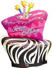 Birthday Funky Zebra Stripe Cake Super Shape Foil Balloon